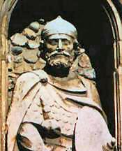 Brithnoth's statue outside the church